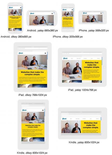 """Farklı ekran çözünürlüklerinde """"Float New Media Design"""" sitesi görüntüleri"""