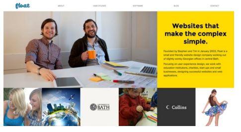 Float New Media Design web sitesinin 1280 px genişliğindeki görüntüsü