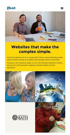 Float New Media Design web sitesinin 768 px genişliğindeki görüntüsü
